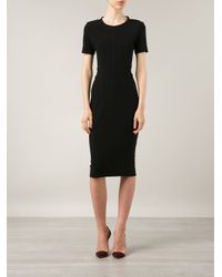 By Malene Birger - Black Short Sleeve Fitted Dress - Lyst