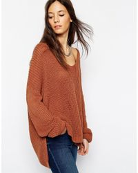 ASOS Brown Ultimate Chunky Jumper With V-neck