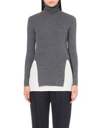 JOSEPH | Gray Turtleneck Wool And Silk Jumper | Lyst