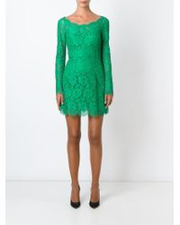 56322fca Dolce & Gabbana Floral Lace Mini Dress in Green - Lyst
