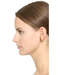 Vita Fede | Metallic Comma Left Earring With Crystal Ball - Gold | Lyst
