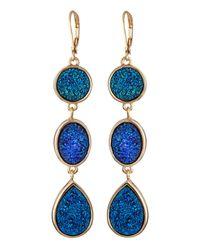 Fragments Threetier Druzy Drop Earrings Blue