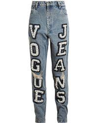 Ashish - Blue Vogue Embellished High-Rise Boyfriend Jeans - Lyst
