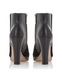 Dune - Black Olympe Suede And Leather Heeled Ankle Boots - Lyst