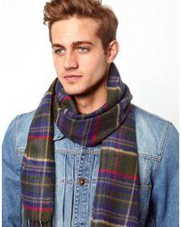 ASOS - Green Woven Scarf With Tartan Design for Men - Lyst
