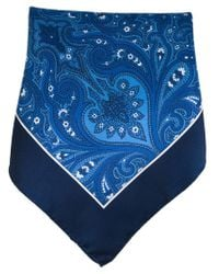 Kiton - Blue Paisley Print Pocket Square for Men - Lyst