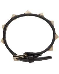 Valentino | Black Leather Rockstud Bracelet | Lyst