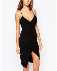 Missguided Black Slinky Strappy Asymmetric Body-conscious Dress