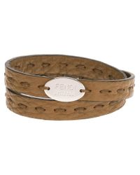 Fendi - Brown Double Wrap Bracelet for Men - Lyst