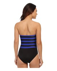 DKNY - Blue Iconic Stripe Layered Bandeau Maillot W/ Removable Soft Cups - Lyst