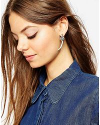 ASOS | Blue Horn Front & Back Earrings | Lyst