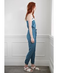 Forever 21 Blue Ditsy Floral Print Jumpsuit You've Been Added To The Waitlist
