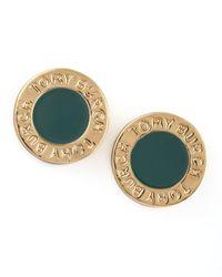 Tory Burch Gray Cole Logo Stud Earrings Green