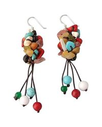 Aeravida | Multicolor Cool Cluster Natural Multi-stones .925 Silver Earrings | Lyst