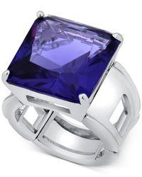 T Tahari - Blue Silver-tone Purple Crystal Cocktail Stretch Ring - Lyst