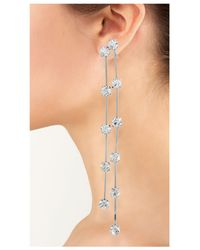 Kenneth Jay Lane | Metallic Silver And Crystal Drop Clip Earring | Lyst