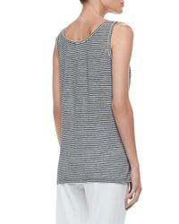 Eileen Fisher - Black Linen Jersey Striped Tank - Lyst
