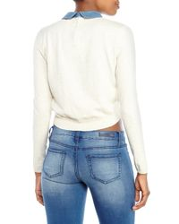 Maje | Natural Denim Collar Cropped Pullover | Lyst