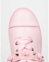 YRU Pink Bomb Toecap Mid Lace Up Heeled Shoes