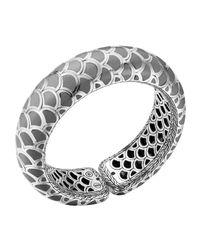 John Hardy Metallic Naga Silver Enamel Scale Cuff With Gray Enamel