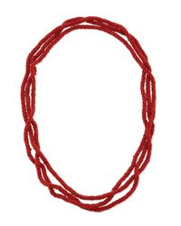 Kenneth Jay Lane - Red Long Beaded Rope Necklace - Lyst
