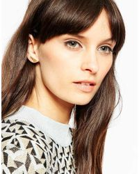 ASOS - Metallic Gold Plated Sterling Silver Triangle Etched Earrings - Lyst