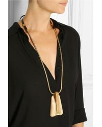 Lanvin Metallic Gold-Tone, Leather And Wood Necklace