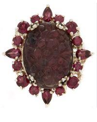 Stephen Dweck - Purple Silver Quartz And Garnet Carved Floral Ring - Lyst