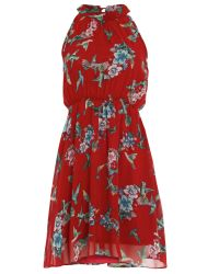 Tenki | Red Bird And Flower Print Dress | Lyst
