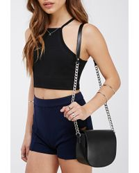 Forever 21 - Black Faux Leather Flaptop Crossbody You've Been Added To The Waitlist - Lyst