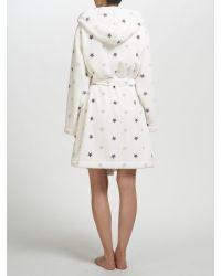John Lewis White Star Print Hooded Robe