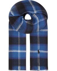 Ralph Lauren - Blue Peached Cotton Flannel Checked Scarf for Men - Lyst