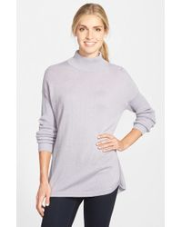 Vince Camuto | Purple Ribbed Sleeve Mock Neck Sweater | Lyst