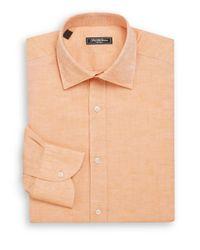 Saks Fifth Avenue | Orange Classic-fit Linen & Cotton Dress Shirt for Men | Lyst
