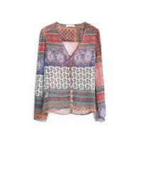Mango | Orange Printed Flowy Shirt | Lyst