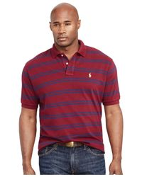 Polo Ralph Lauren - Purple Big And Tall Custom-fit Striped Mesh Polo Shirt for Men - Lyst