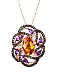 Le Vian | Pink 14k Strawberry Gold Multi Semiprecious Stone Flower Pendant | Lyst
