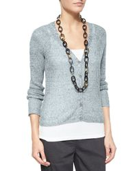 Eileen Fisher - Blue Rustic Speckled Button-front Cardigan - Lyst