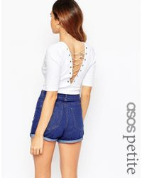 ASOS - White Body In Rib With Deep Plunge And Lace Up Back - Lyst