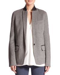 Vince - Gray Leather-trimmed Stretch-wool Blazer - Lyst