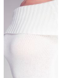 Bebe White Marilyn Zip Detail Sweater