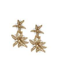 Oscar de la Renta Metallic Pearly Flower Double-drop Clip Earrings