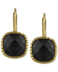 The Sak - Gold-Tone Black Stone Batik Leverback Earrings - Lyst