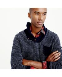 J.Crew - Blue Lambswool Jacquard Shawl-collar Sweater for Men - Lyst