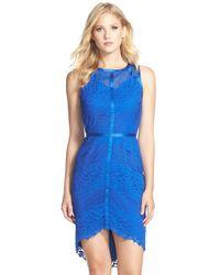 Adelyn Rae Blue Lace, Mesh & Chiffon Sheath Dress