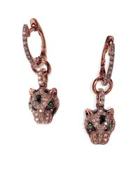 Effy | Pink Signature Diamond, Tsavorite And 14k Rose Gold Leopard Drop Earrings | Lyst