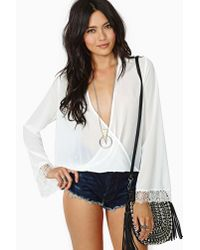 Nasty Gal - White Lets Twist Again Blouse - Lyst