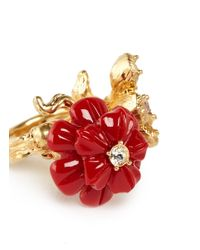 Alexander McQueen Red Crystal Resin Duo Flower Skull Ring
