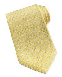 Ferragamo - Yellow Hibiscus Flower Woven Tie for Men - Lyst