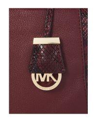 Michael Kors White Riley Large Embossed-trim Leather Satchel